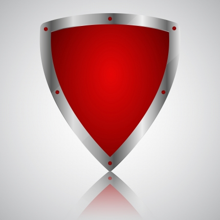 Victory red shield symbol icon, illustration