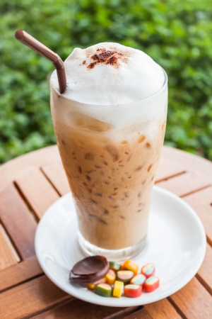 Refreshing iced milk espresso and some sweet