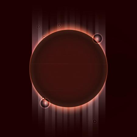 Brown planet eclipse orange rays on  dark space, vector illustration Vector