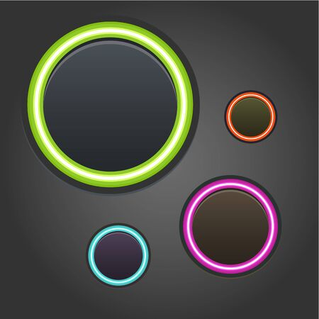 Colorful glowing buttons on dark background Stock Vector - 21933557