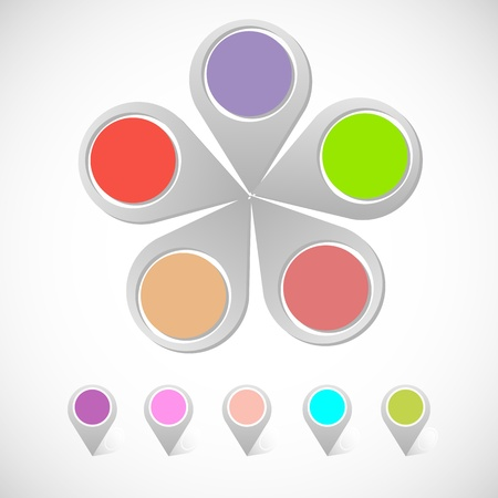 Colorful round pin pointer Stock Vector - 21933558