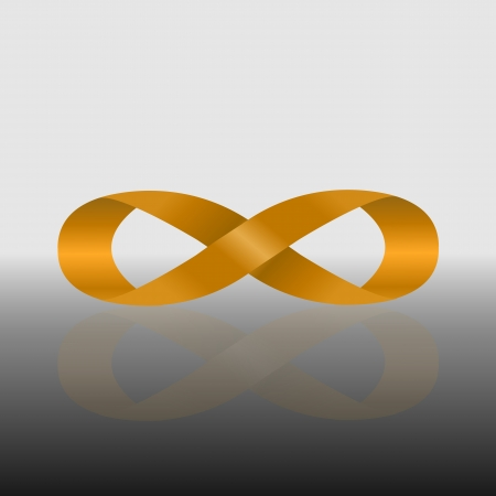 Golden infinity symbol with reflect Stock Vector - 21933560