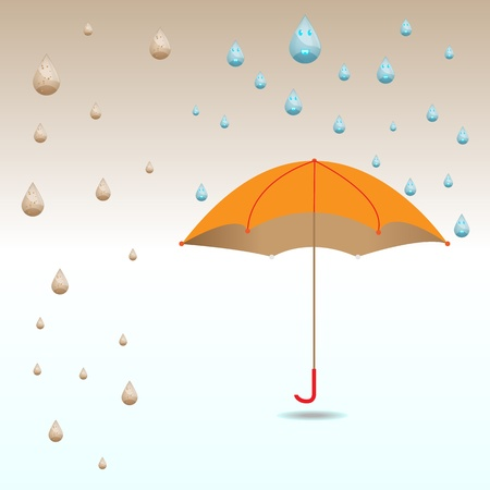 Umbrella protect from dirty and clean rain drops Vector