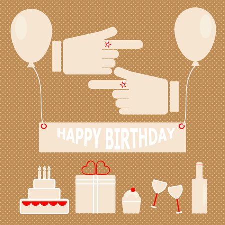 Simple birthday party in retro style, stock vector  Illustration