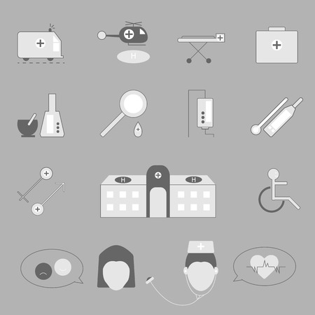 Hospital and emergency icons on gray background, stock vector Vector