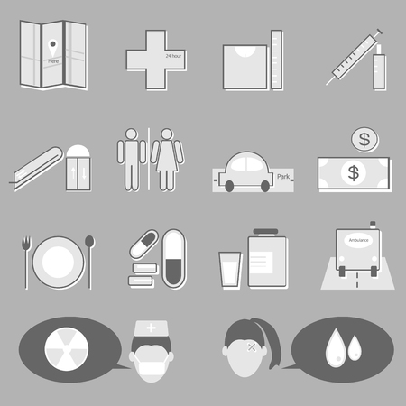 Hospital and medical icons on gray background, stock vector Vector