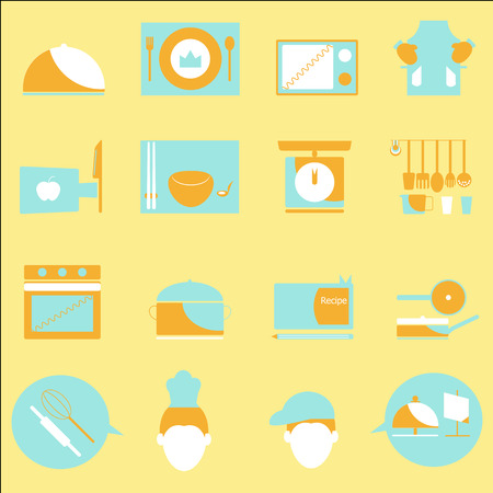 Kitchen color icons on yellow background, stock vector Vector