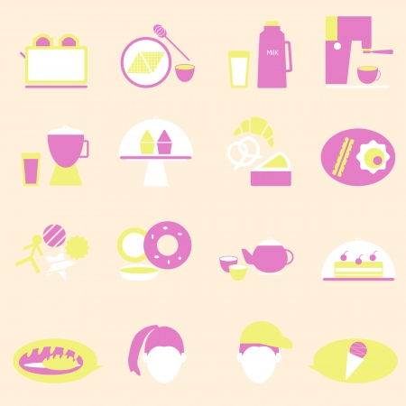 Bakery and drinks color icons, stock vector Vector