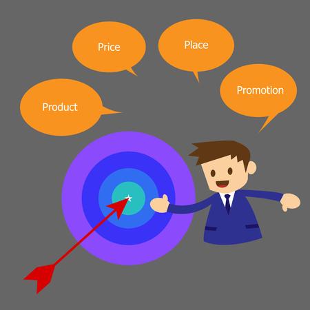 marketing mix: Simple marketing mix concept, stock vector Illustration