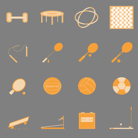 Fitness sport orange color icons on gray background, stock vector Vector