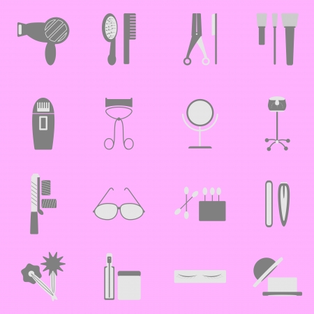 Beauty icons set on pink background, stock vector