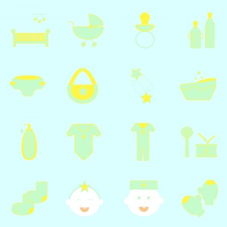Baby color icons set on light background, stock vector Vector