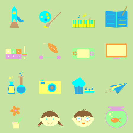 Kid activities color icons set, stock vector Vector