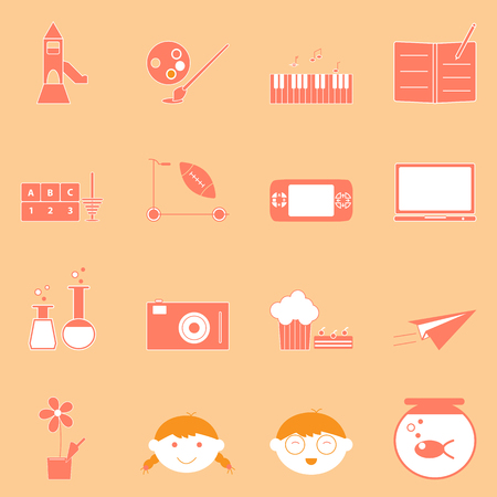 Kid activities orange icons set, stock vector Vector