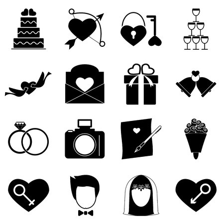 wedding cake: Wedding icons on white background, stock vector