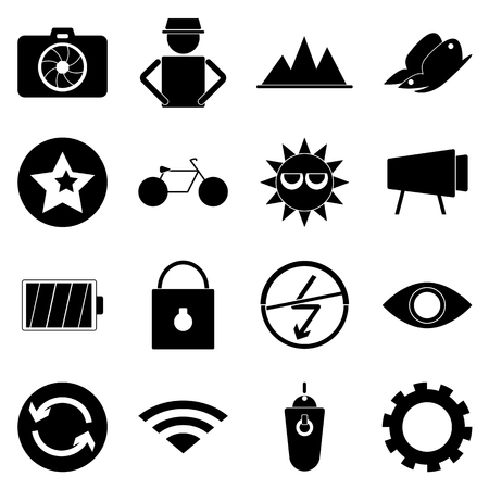 Photography icons on white background, stock vector Vector