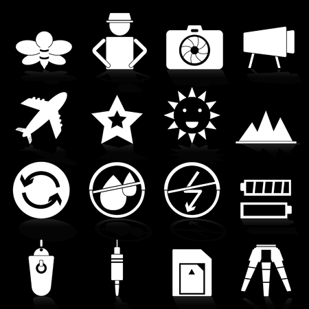 humidity: Camera icons with reflect on black background, stock vector