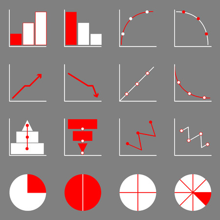 Applied graph icons on gray , stock vector Vector