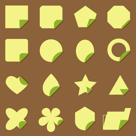 package printing: Set of vintage corner label icons, stock vector