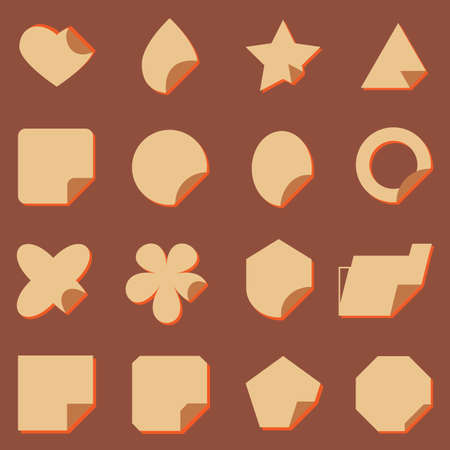 package printing: Vintage corner lebel icons with shadow, stock vector