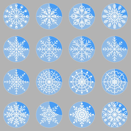 creare: Creare icone fiocco di neve sul pulsante, archivio di vettore