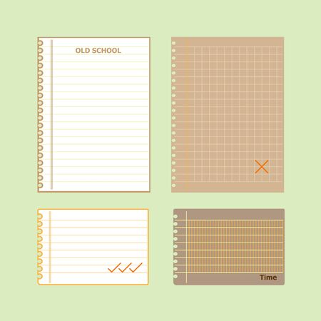 Retro lined papers on green background, stock vector  Illustration
