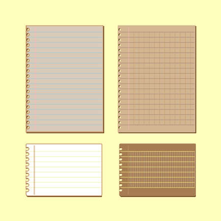 Vintage lined papers on yellow background, stock vector  Illustration