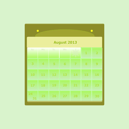 event planning: Design schedule monthly august 2014 calendar, stock vector Illustration