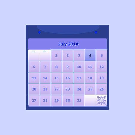 Design schedule monthly july 2014 calendar, stock vector Stock Vector - 24503985
