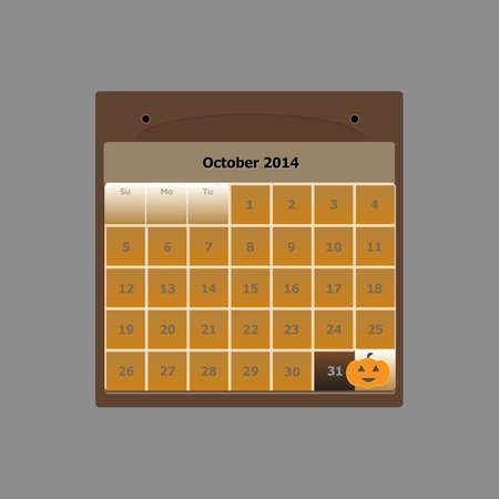 Design schedule monthly october 2014 calendar, stock vector Vector