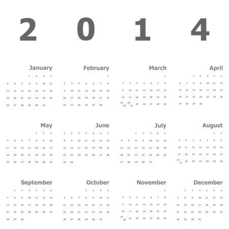 Calendar 2014 on white background, stock vector Stock Vector - 24508645