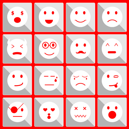 Feeling face icons on the button, stock vector