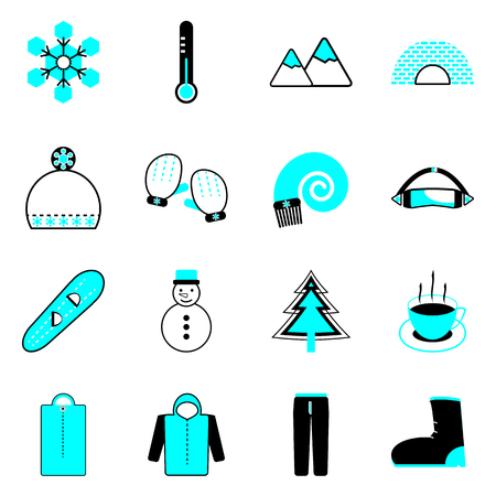 Winter icons on white background, stock vector Vector