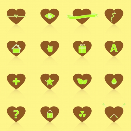 heart beats: General symbol in heart shape icons with reflect, stock vector