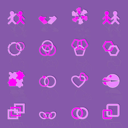 Link and relationship color icons Illustration
