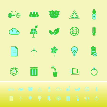 antipollution: Ecology color icons on yellow background, stock vector Illustration
