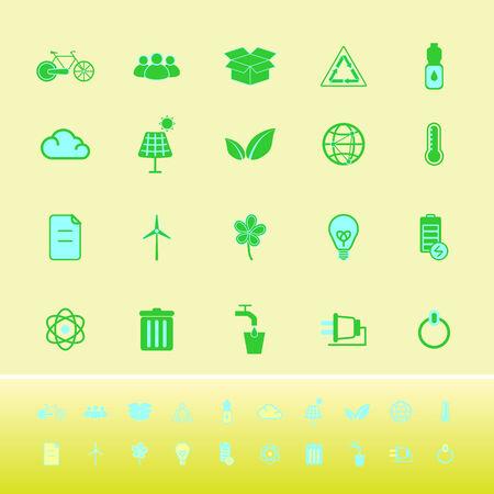antipollution: Los iconos de color Ecolog�a sobre fondo amarillo, stock vector Vectores