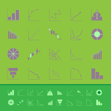 compute: Set of diagram and graph color icons, stock vector
