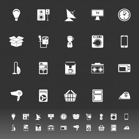 home related: Home related icons on gray background, stock vector Illustration