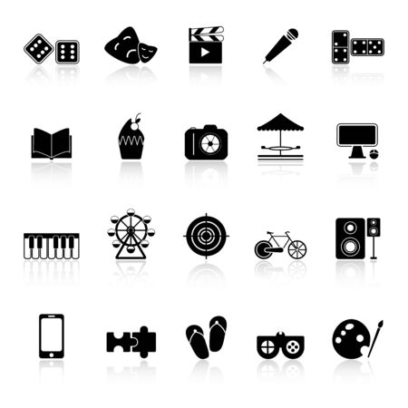reflect: Entertainment icons with reflect on white background Illustration