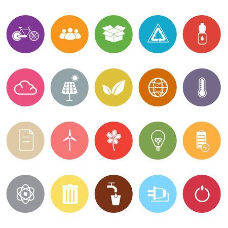 antipollution: Iconos planos Ecolog�a en el fondo blanco, stock vector Vectores