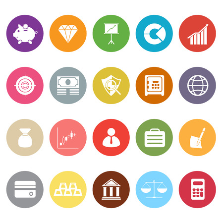Finance flat icons on white background, stock vector