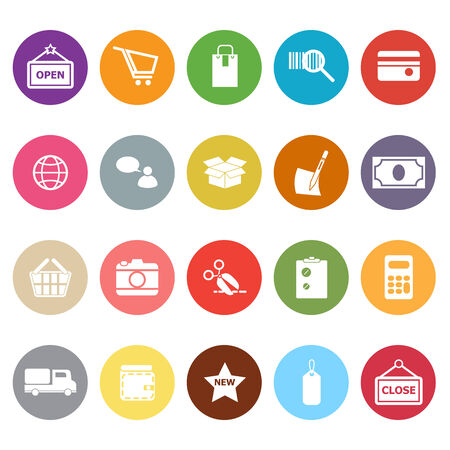 Shopping flat icons on white background, stock vector