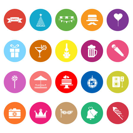 Party time flat icons on white background, stock vector