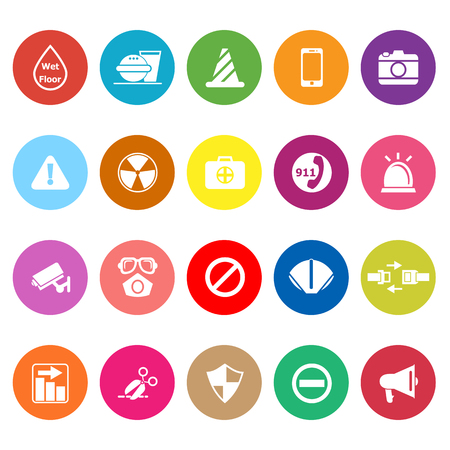 wet floor sign: General useful flat icons on white background, stock vector Illustration