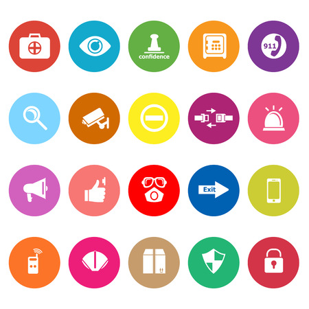 Security flat icons on white background, stock vector