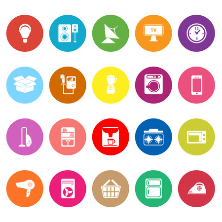 home related: Home related flat icons on white background, stock vector Illustration