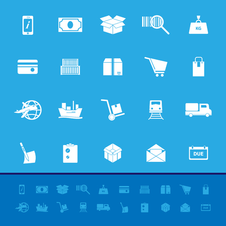 bogie: Shipment color icons on blue background, stock vector