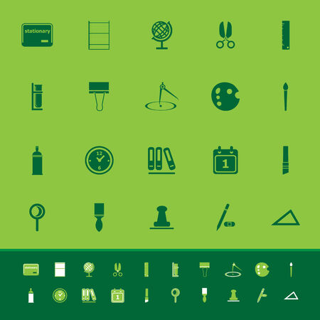 hilight: General stationary color icons on green background, stock vector
