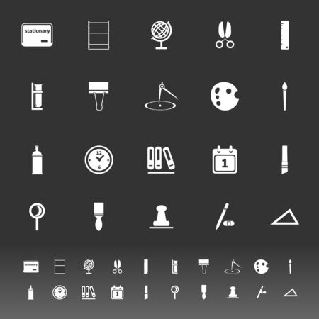 hilight: General stationary icons on gray background, stock vector